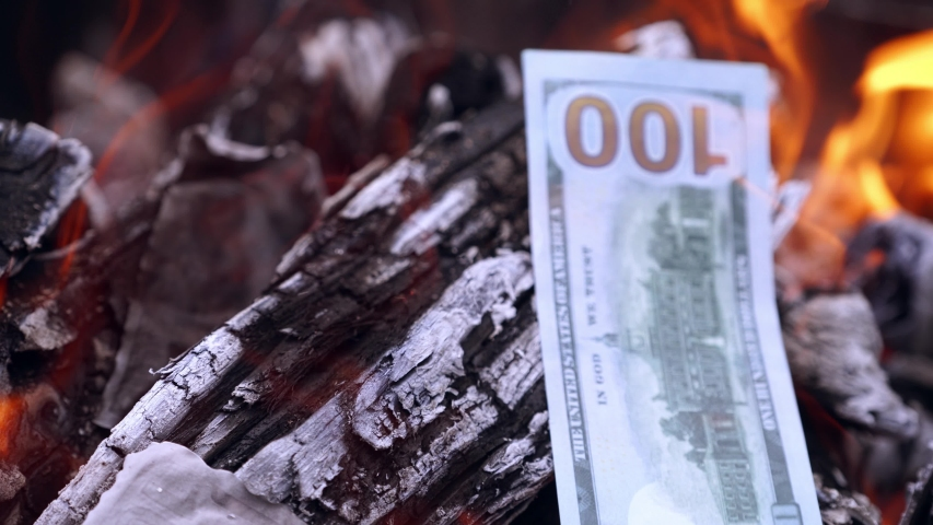 Burning money in fire. Money lies in flames and turns to ashes | Shutterstock HD Video #1035341114