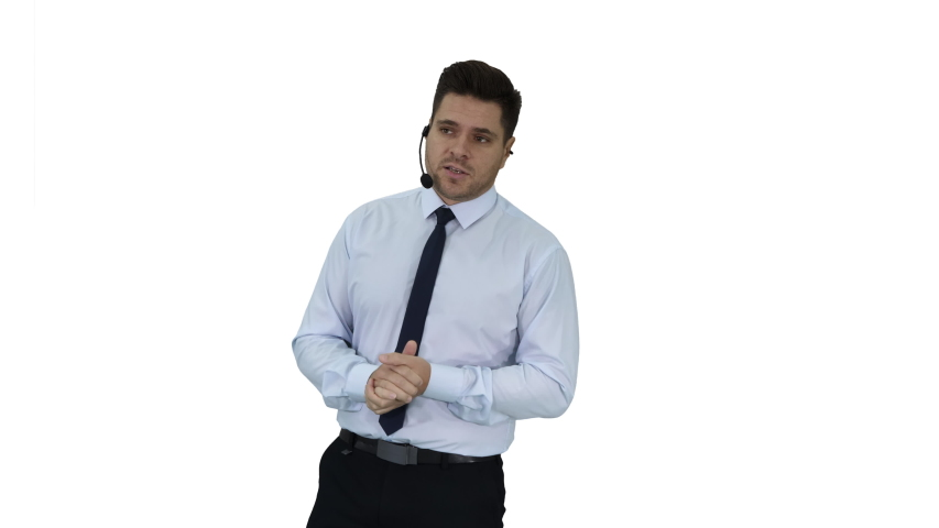 Businessman making a presentation of new product or technology on white background. | Shutterstock HD Video #1035419084