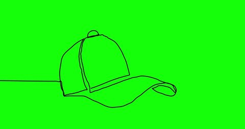 Baseball cap. Continuous line drawing style. Can be used for infographics, timeline, etc.