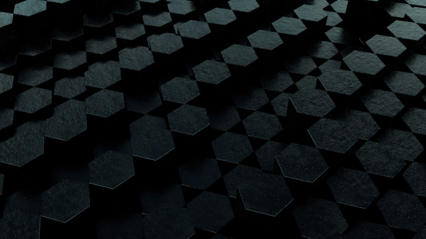 Black Hex 3D Animation Loop 1 is a looping video of textured hexagons rising and falling in a random sequence. Great background for any presentation or production. | Shutterstock HD Video #1035476444