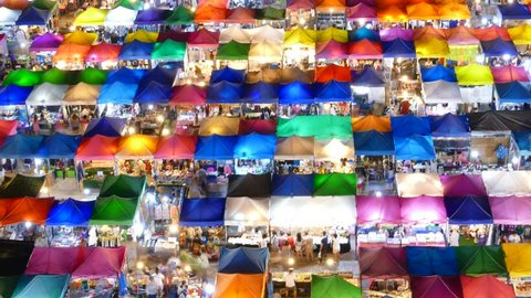 Night market at Bangkok Thailand. Time Lapse.