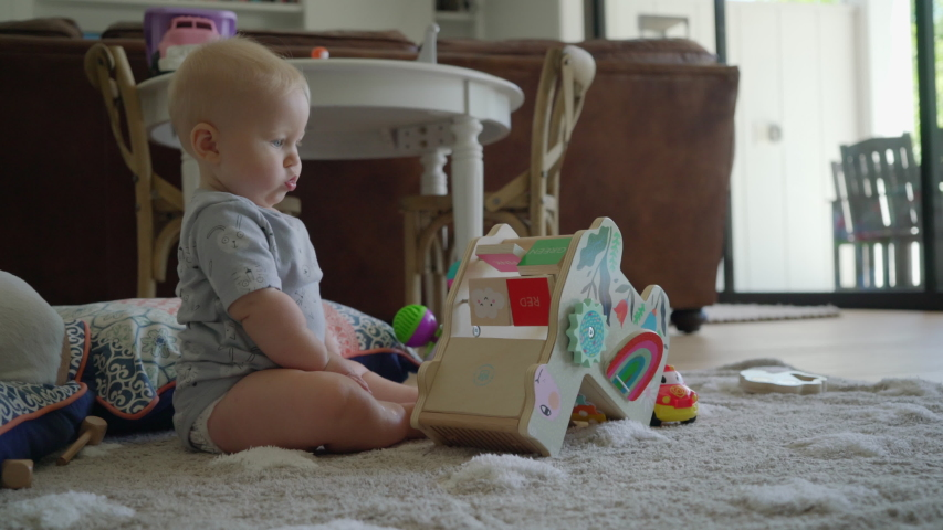Adorable chubby Caucasian baby sitting and playing alone with a wooden toy. Wobbling, looking around and to the camera. | Shutterstock HD Video #1036020044