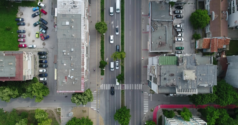 Aerial top down view of street traffic of the city center.  Urban Landscape. 4K video. Varna, Bulgaria  | Shutterstock HD Video #1036049174