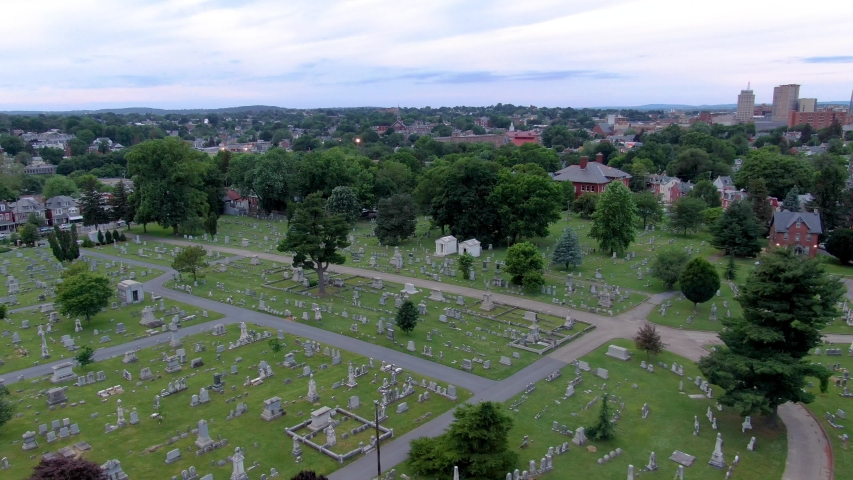 Aerial drone shot of the graves and structures in Woodward Hill Cemetery in Lancaster, Pennsylvania, USA