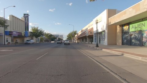 Roswell, new mexico / usa - circa august 2019, action camera video of the  ufo museum and businesses using ufo themes as well as aliens from space for  advertising