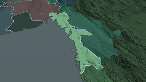 Mon - state of Myanmar with its capital zoomed on the administrative map of the globe