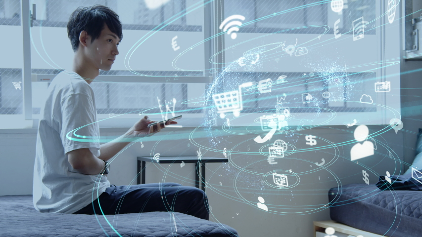 Social networking service concept. Communication network.   Shutterstock HD Video #1036430804
