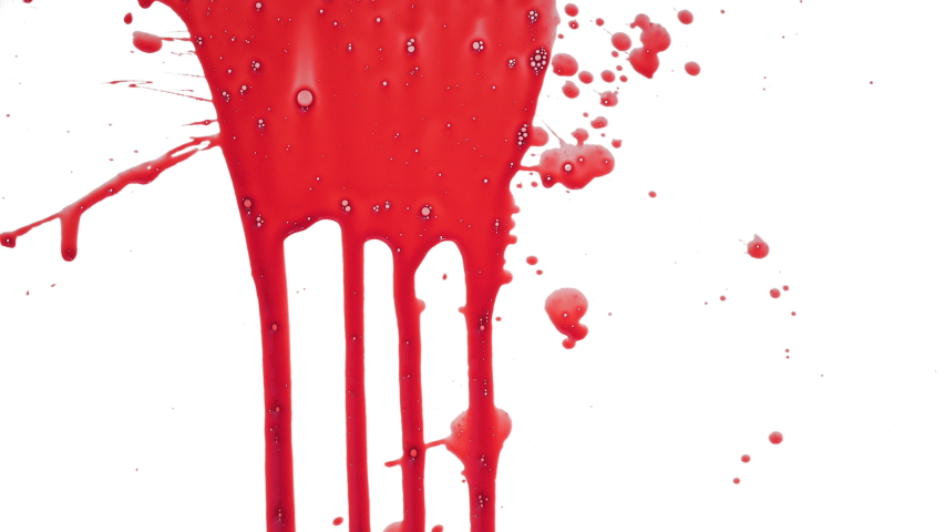 Streaks of blood pouring on a white surface  | Shutterstock HD Video #1036576934