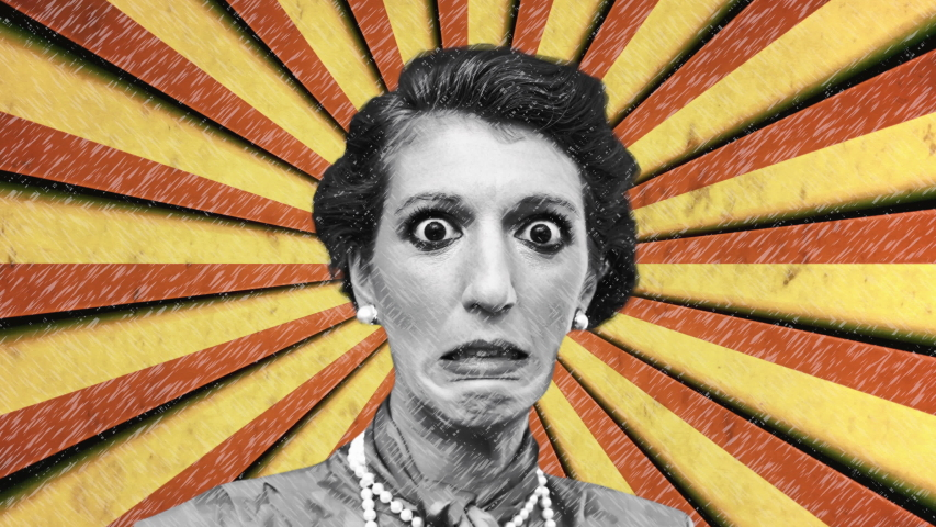 A weird unsettling collage of an astonished lady (old-style makeup and dress) over a circus pattern (rotating red and yellow stripes, stitch style).  | Shutterstock HD Video #1036651604