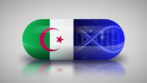 Animation of the national pharmaceuticals of Algeria. Drug production in Algeria. National flag of Algeria on capsule with gene animation
