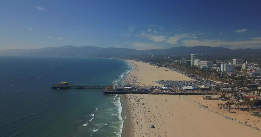 Drone Aerial Footage of the Santa Monica Pier | Shutterstock HD Video #1036710374