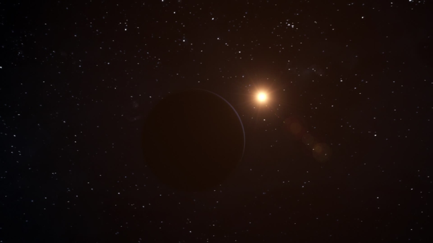 Realistic CGI Neptune Planet Fly-By. #1036877024