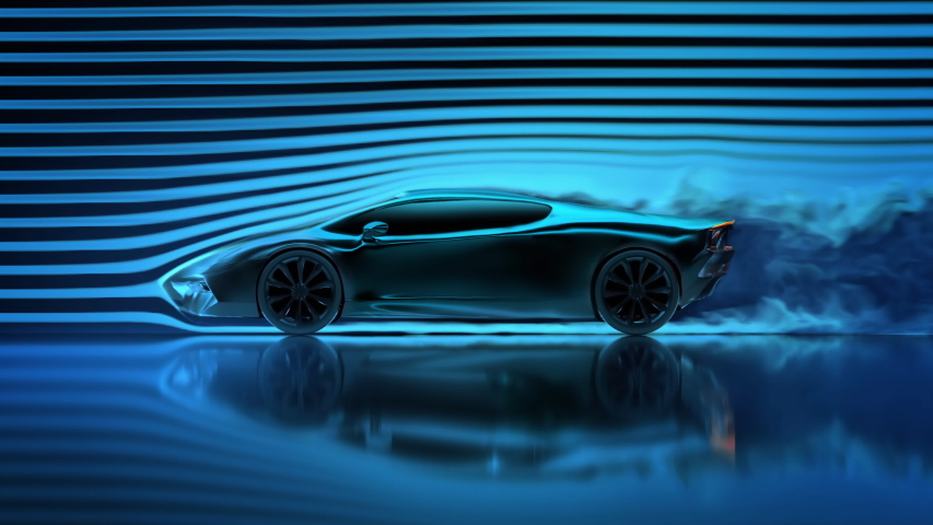 Concept car aerodynamics test in wind tunnel, side view | Shutterstock HD Video #1036962974