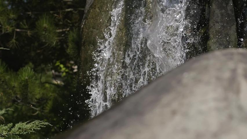 Water falling down in the forest. Huge beautiful waterfall in the forest. Beauty of nature, wild nature. Amazing landscape. Summertime beauty. | Shutterstock HD Video #1036974164