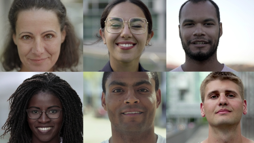 Collage of cheerful international human faces. Close-up of African American, Caucasian, Asian, Indian men and women looking at camera and smiling. Multiethnic concept | Shutterstock HD Video #1037099534