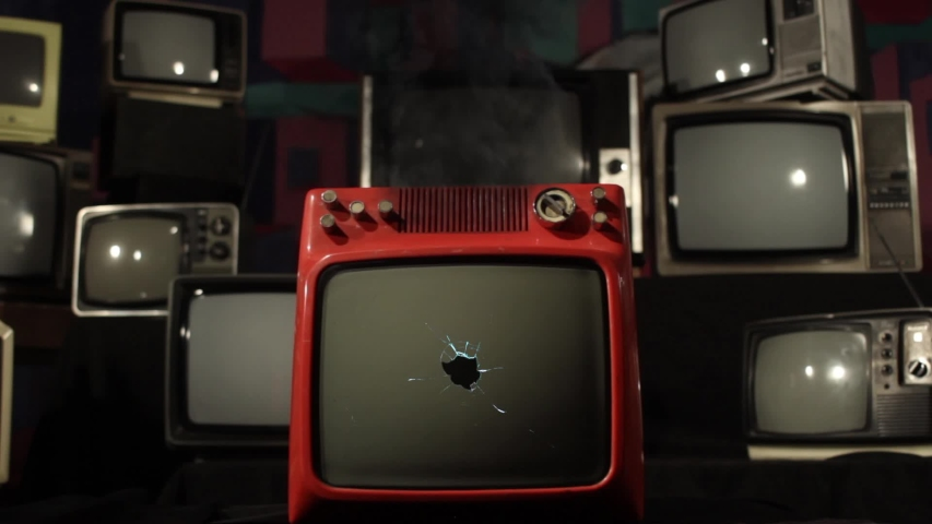 """Retro TV with Green Screen Explodes.  You can Replace Green Screen with the Footage or Picture you Want with """"Keying"""" effect in AE (check out tutorials on YouTube). 