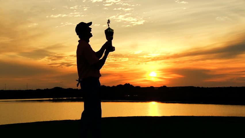 Professional Male Caucasian Winner Golf Sunset Commercial Sponsorship Wealth   Shutterstock HD Video #10371614