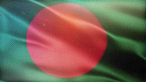 Bangladesh flag seamless loop. Beautiful detailed texture fabric waving in the wind.