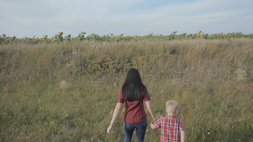 Happy family mom and son slow motion video concept. mother girl and son boy go in nature to a lifestyle field of sunflowers . happy family walk in nature   Shutterstock HD Video #1037217974