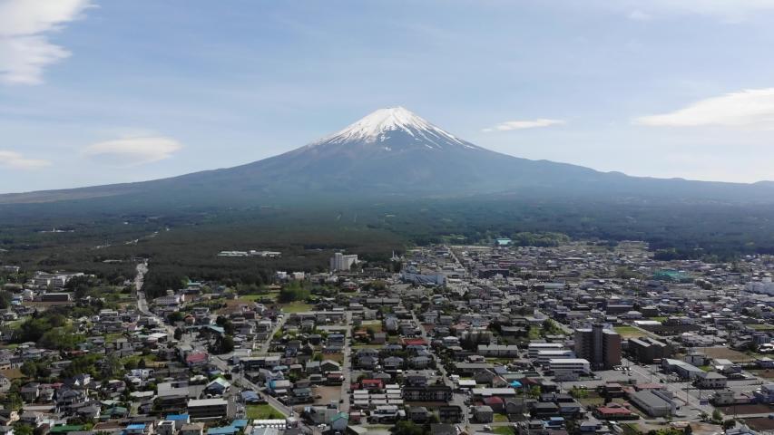 Kawaguchiko Japan Mount Fuji drone view | Shutterstock HD Video #1037333804