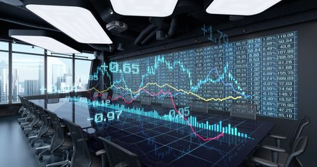 Animated Charts Diagrams of Financial Statistics report Growing on Table in Office Interior. Exchange trading Gambling concept 4K video 3D rendering. 10 sec intro and 10 sec loop.
