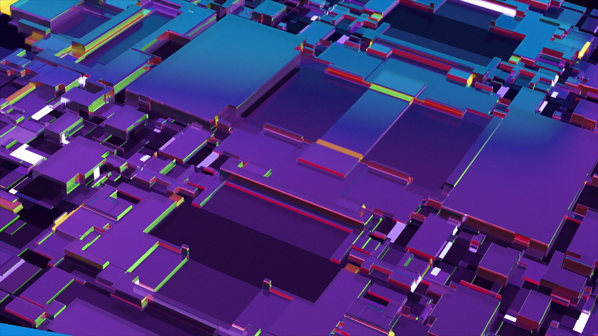 3d render, Colorful abstract geometric background with Futuristic Electronic Circuit Board with Microchips and Processors. 3D animation of  Electronic Circuit Board seamless loop in 4K | Shutterstock HD Video #1037419364