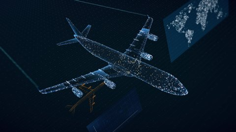 Beautiful 3D concept of airliner flying, showing air traffic growth data. 4K 30fps.