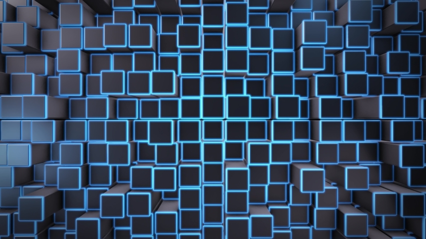 4K Polygon cube with blue glowing light  random animation , Video for projection mapping UHD, 3d rendering . | Shutterstock HD Video #1037508494