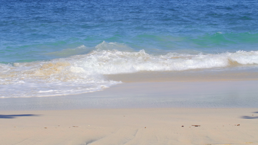 Close up shot of a tropical beach with big blue waves in ocean and yellow sand | Shutterstock HD Video #1037510654