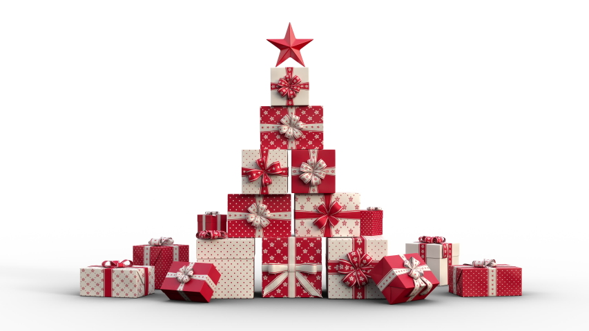 Zoom out of Christmas gift boxes popping up and forming a stack of presents in an abstract christmas tree shape with star on top. Red version. Animated Christmas Greeting Card. White background. | Shutterstock HD Video #1037522834