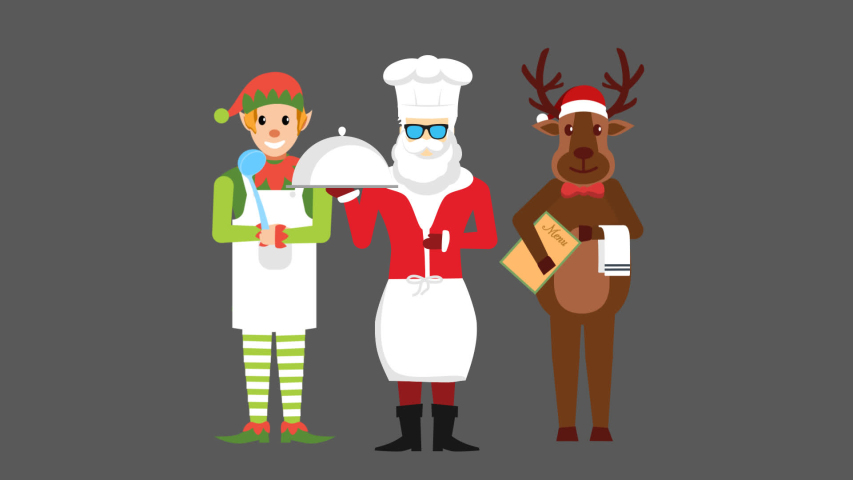 Santa is standing wearing a chef's uniform and holding cooked dish item in his hand.The reindeer and elves are standing behind holding other item of hotel service. | Shutterstock HD Video #1037539424