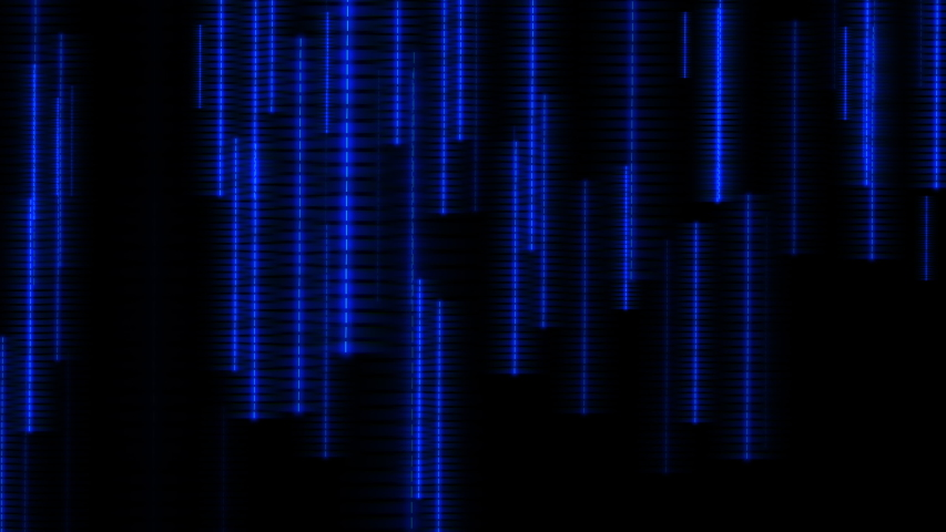 Blue neon dotted strips falling down on black background. Futuristic data flow background, concept of information transfer and data communication. Seamless loop background  | Shutterstock HD Video #1037608934