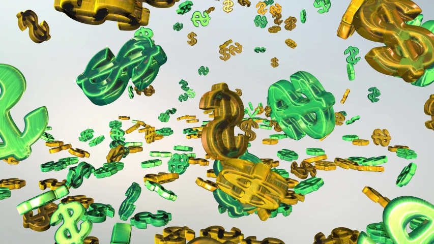 Money explosion. Many symbols of money are scattered in all directions. A splash of the American dollar. | Shutterstock HD Video #1037611844