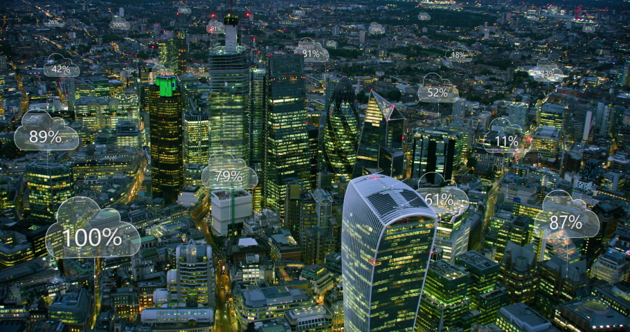Network connections and cloud computing icons with percentages. Technology concept, data communication, artificial intelligence, internet of things. Aerial smart city. London, England. Shot on Red 8K. | Shutterstock HD Video #1037797064