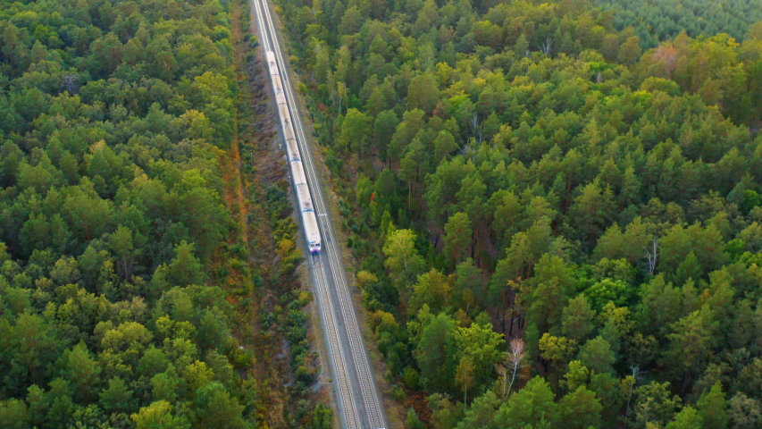Aerial following view of the suburban train (commuter rail) rides through the autumn forest at sunset | Shutterstock HD Video #1037818874