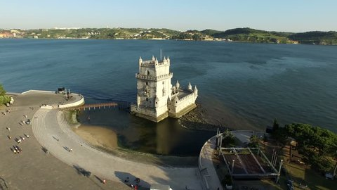 Aerial from the tower of Belem in Lisbon Portugal