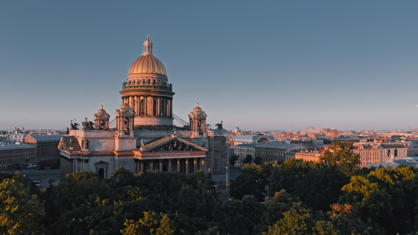 Summer morning view of Saint Isaac's Cathedral and threes of Alexander Garden in St.Petersburg and cultural center of city, Russia | Shutterstock HD Video #1038449654
