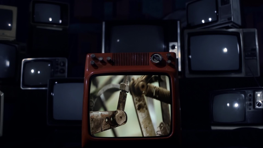 Machinery in a Paper Toilet Roll Factory On a Retro TV that Explodes. Blue Dark Tone.  | Shutterstock HD Video #1038807524