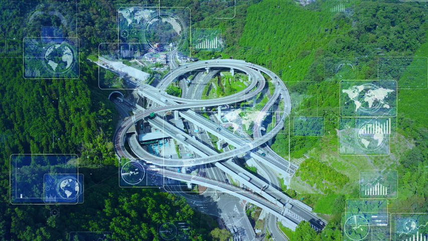 Transportation system concept. Communication network. Autonomous technology.    Shutterstock HD Video #1038835034