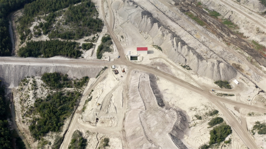 Road interchanges in a quarry for mining heavy equipment. | Shutterstock HD Video #1038851354