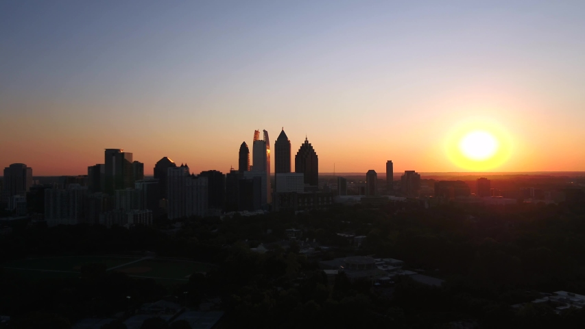 Droning Piedmont Park while the sunset in Atlanta | Shutterstock HD Video #1038912044