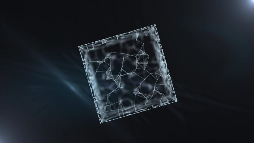 Financial cube hologram of luminous network connections. | Shutterstock HD Video #1038957944