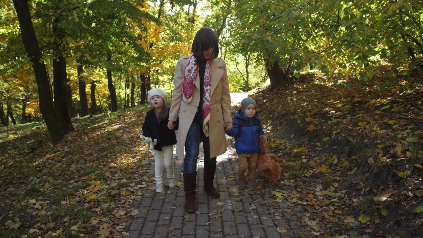 Cheerful mother communicating with children while walking hand in hand along sunlit park covered with yellow autumn leaves. Happy mom with special needs girl and toddler boy enjoying freetime outdoor | Shutterstock HD Video #1039003304