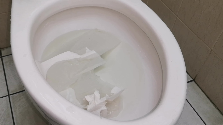 The flushing of toilet tissue paper down a bathroom toilet. (Selective focus) | Shutterstock HD Video #1039040714