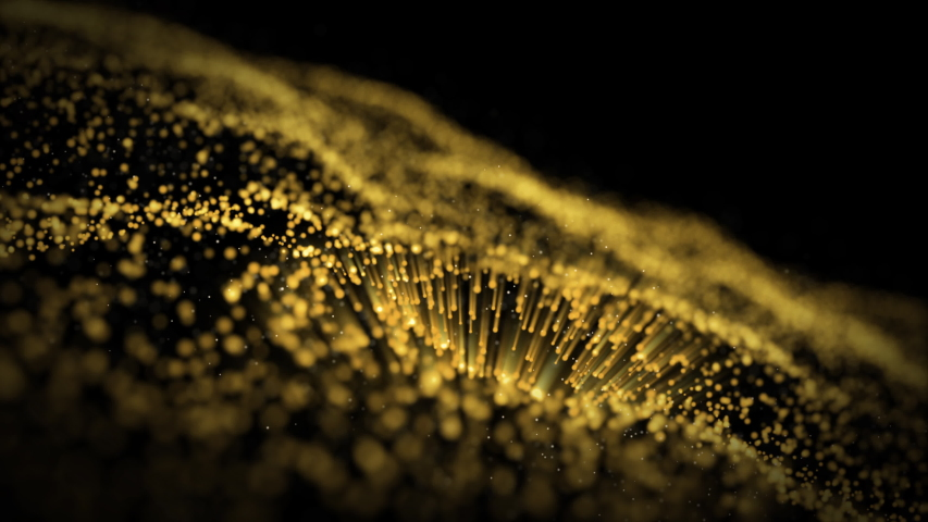 Animation of Golden light, sparkling glitter, particle motion slowly on a black background #1039156064