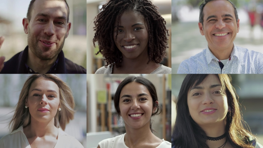 Collage of cheerful multiethnic people looking at camera. Multiscreen montage, split screen collage. Ethnicity variation concept | Shutterstock HD Video #1039291844