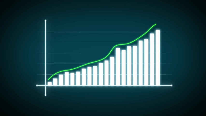 4k Business Growth And Success Arrow Infographics/ Animation of a business infographics with rising arrow and bar stats appearing, symbolizing growth and success, with glitch and noise digital effects | Shutterstock HD Video #1039303934