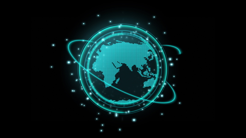 Flat style Dot earth map rotation with searching symbol, with neon light and bokeh and haro ring move around the world ,concept for sci-fi technology ,Use transparent effect for layer , Uhd footage | Shutterstock HD Video #1039398914