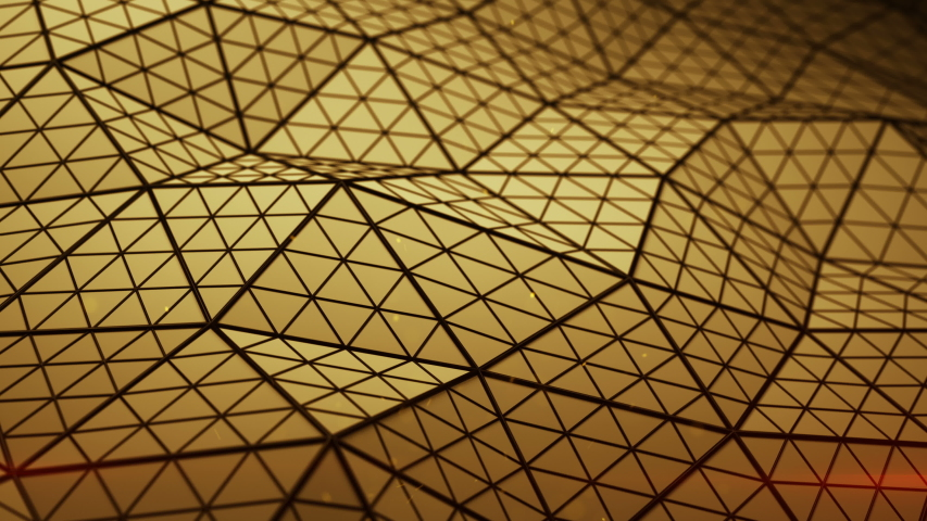 Low poly orange triangulated shape with subdivided polygons. Futuristic abstract distorted construction. Seamless loop 3D render animation 4k UHD 3840x2160 | Shutterstock HD Video #1039418264