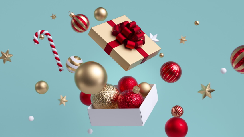 3d glass balls and ornaments flying around open gift box. Spinning festive whirl. Christmas looped background, New Year animated greeting card concept, seamless motion design.   Shutterstock HD Video #1039420664